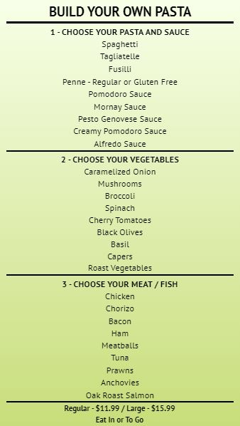 Build Your Own - Menu Board - 30 Items in Green color