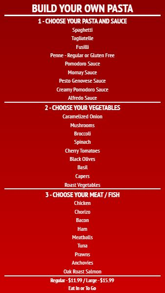 Build Your Own - Menu Board - 30 Items in Red color