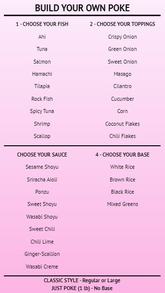 Build Your Own - Menu Board - 40 Items in Pink color