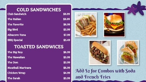 Beach Style Menu - 12 Items in Purple color