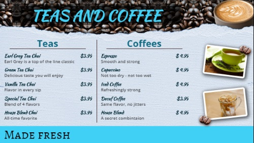 Coffee Shop / Cafe Menu - 10 Items in Blue color
