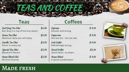 Coffee Shop / Cafe Menu - 10 Items in Green color