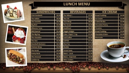 Coffee Shop / Cafe Menu - 38 Items in Black color