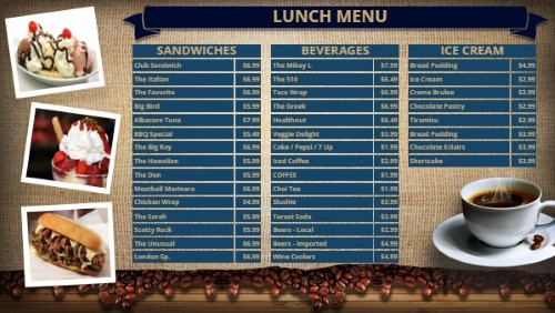 Coffee Shop / Cafe Menu - 38 Items in Blue color