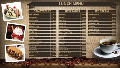 Coffee Shop / Cafe Menu - 38 Items in Brown color