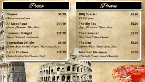 Italian Restaurant Menu Board - 10 Items in Black color
