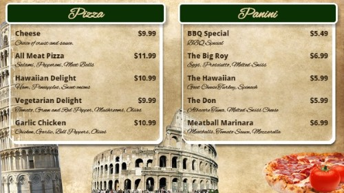 Italian Restaurant Menu Board - 10 Items in Green color