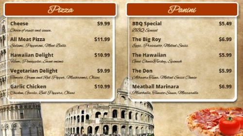 Italian Restaurant Menu Board - 10 Items in Orange color