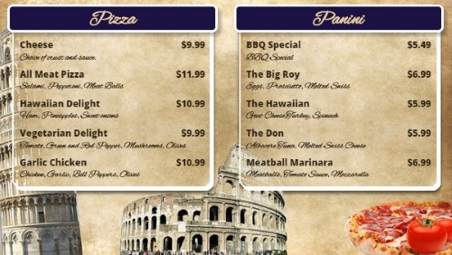 Italian Restaurant Menu Board - 10 Items in Purple color