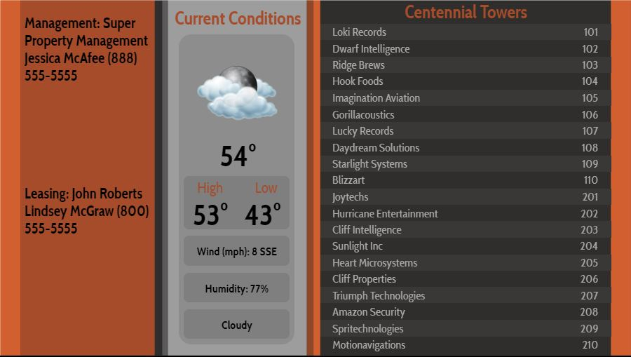 Lobby Directory with Current Weather - 20 Items in Orange color