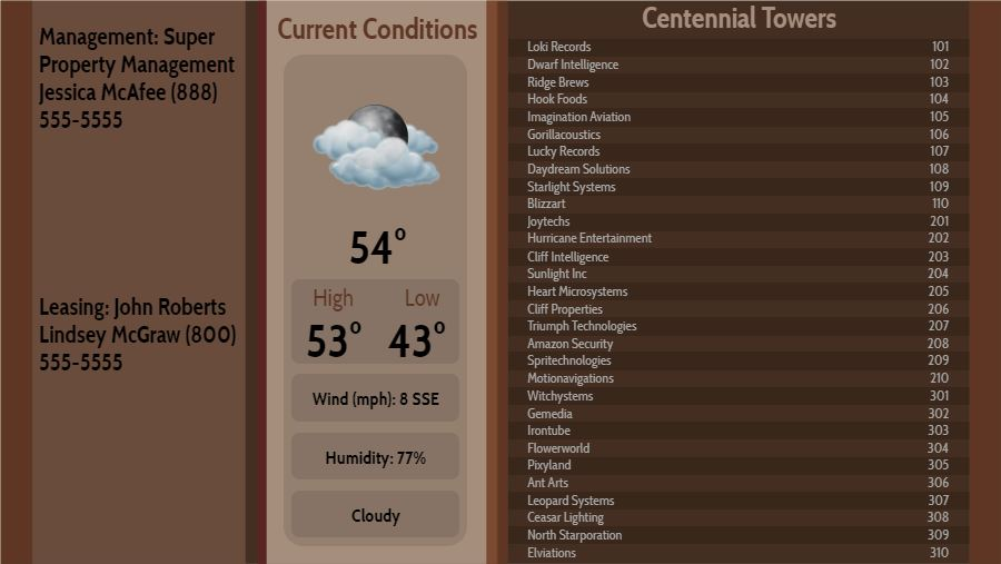 Lobby Directory with Current Weather - 30 Items in Brown color