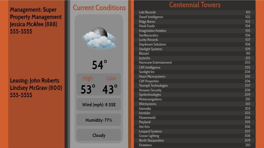 Lobby Directory with Current Weather - 30 Items in Orange color