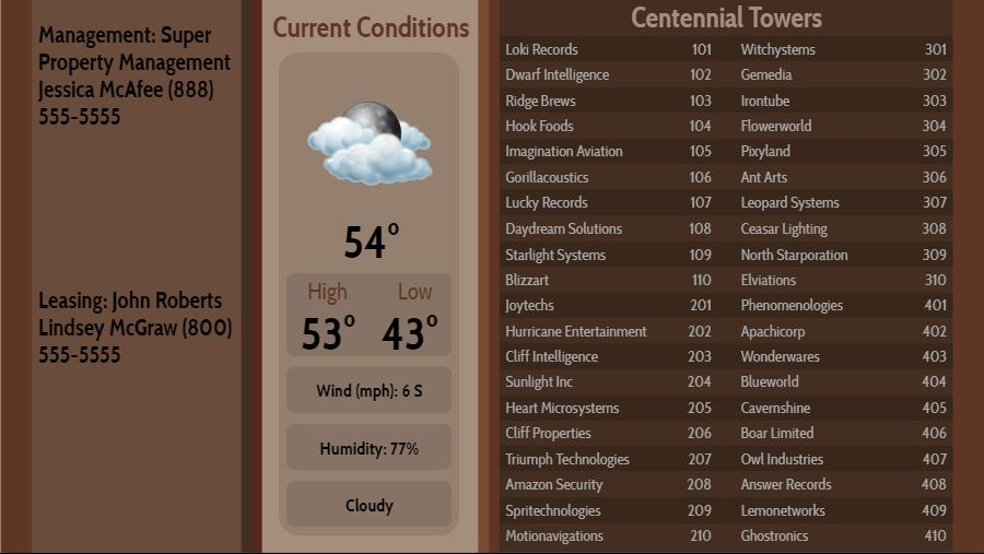 Lobby Directory with Current Weather - 40 Items in Brown color
