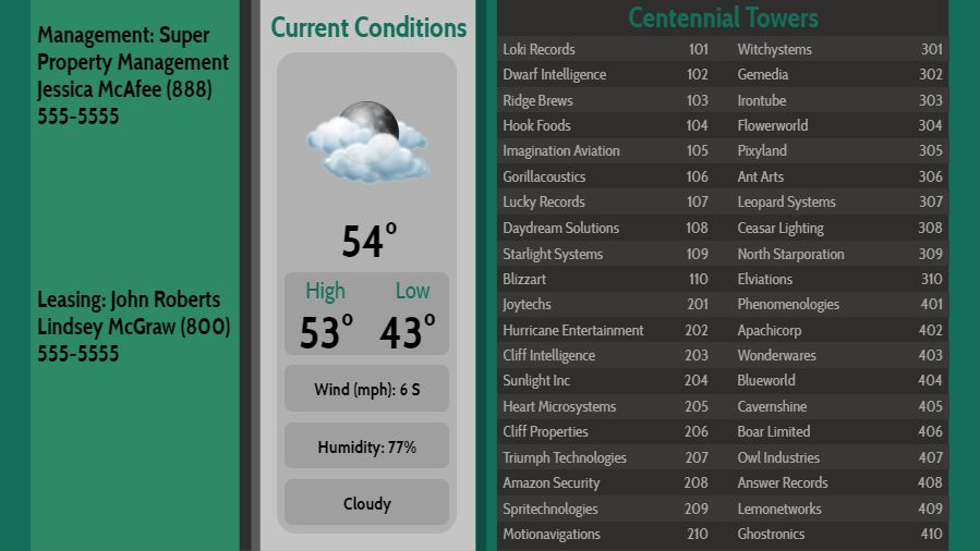 Lobby Directory with Current Weather - 40 Items in Green color