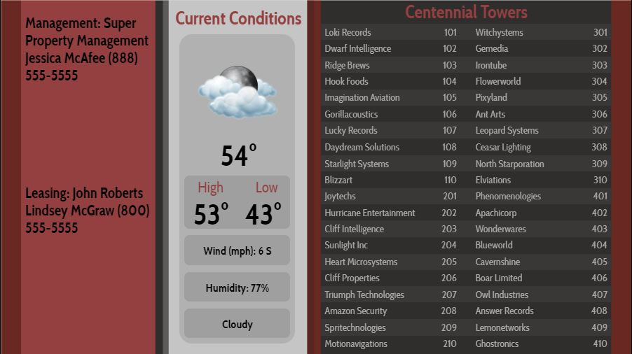 Lobby Directory with Current Weather - 40 Items in Maroon color