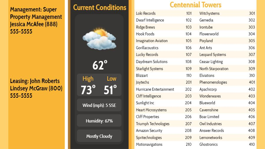 Lobby Directory with Current Weather - 40 Items in Yellow color