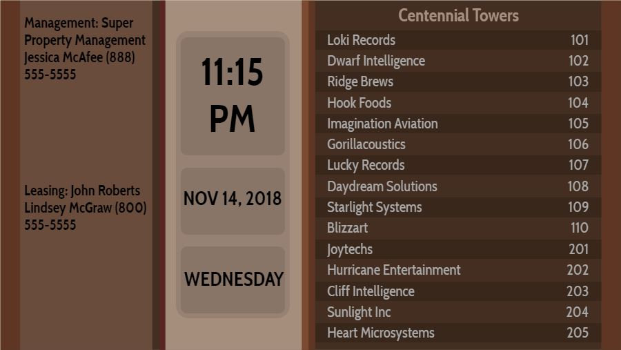 Lobby Directory with Date and Time - 15 Items in Brown color