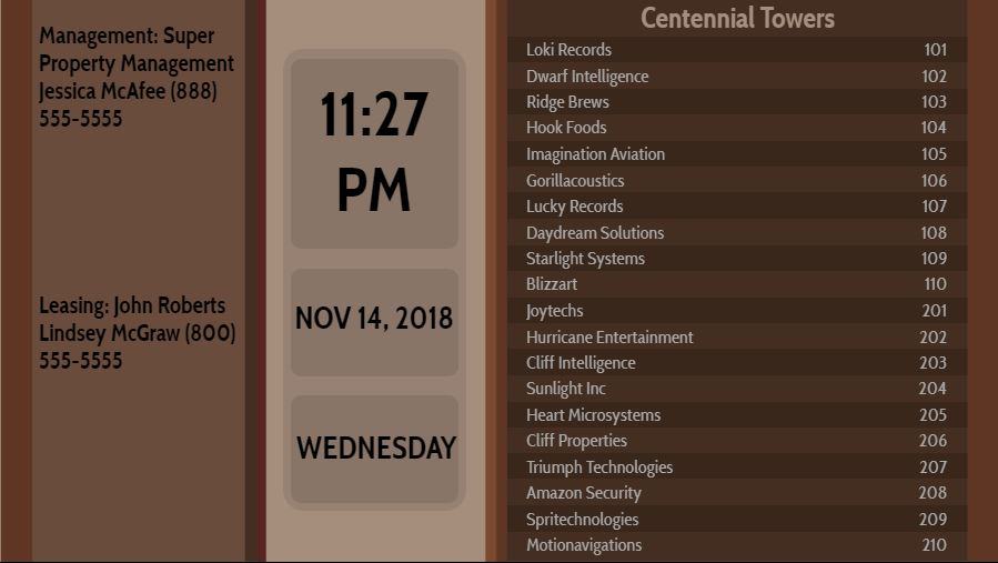 Lobby Directory with Date and Time - 20 Items in Brown color