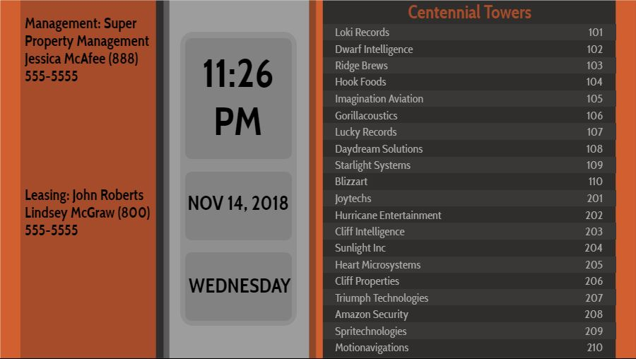 Lobby Directory with Date and Time - 20 Items in Orange color