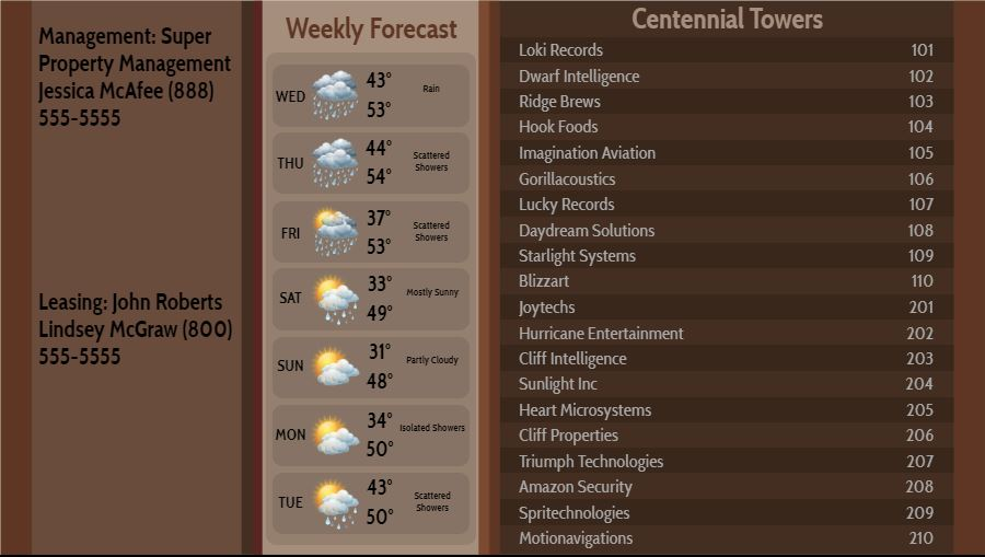 Lobby Directory with Weekly Weather - 20 Items in Brown color