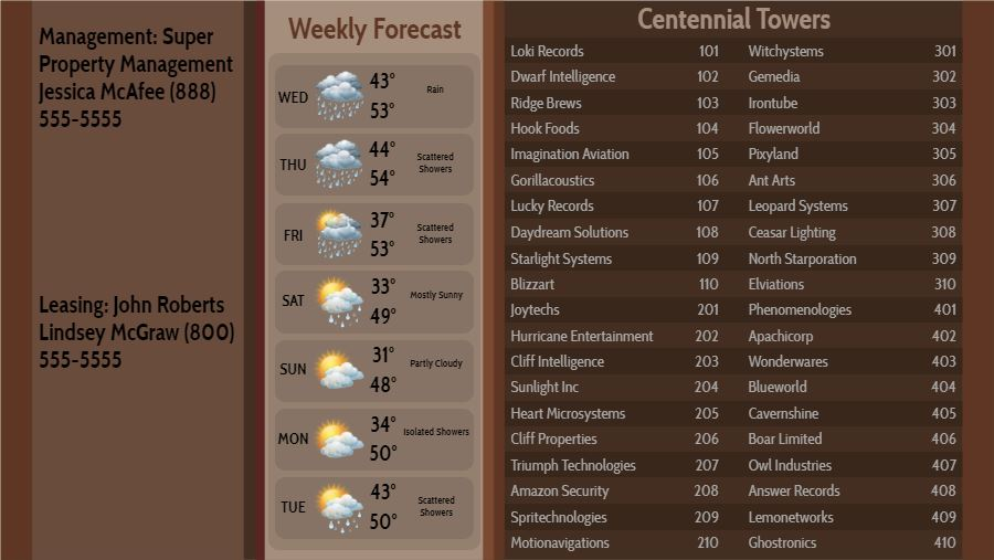 Lobby Directory with Weekly Weather - 40 Items in Brown color