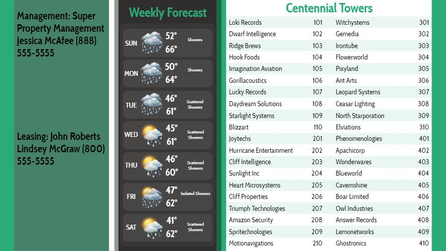Lobby Directory with Weekly Weather - 40 Items in Green color