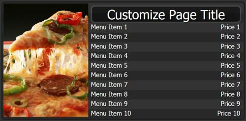 Digital Signage Template for Digital Menu Board - 10 Items