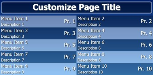 Digital Menu Board - 10 Items in Blue color