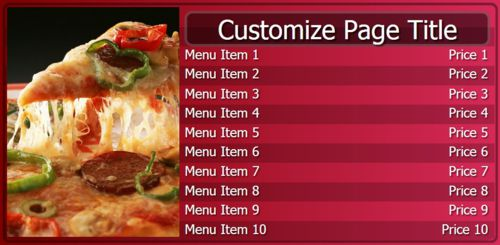 Digital Menu Board - 10 Items in Maroon color