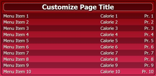 Digital Menu Board - 10 Items in Maroon color