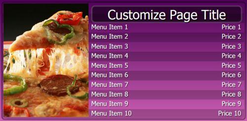 Digital Menu Board - 10 Items in Purple color