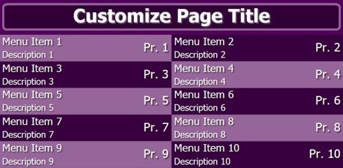 Digital Menu Board - 10 Items in Purple color
