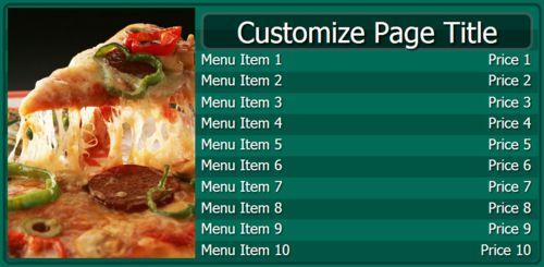 Digital Menu Board - 10 Items in Teal color