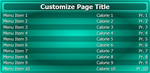 Digital Menu Board - 10 Items in Teal color