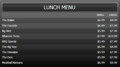 Digital Menu Board - 10 Items with 2 Price Levels in Black color