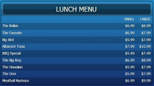 Digital Menu Board - 10 Items with 2 Price Levels in Blue color