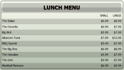 Digital Menu Board - 10 Items with 2 Price Levels in Grey color