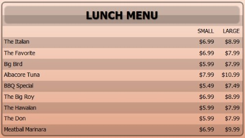Digital Menu Board - 10 Items with 2 Price Levels in Orange color