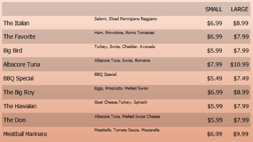 Digital Menu Board - 10 Items with 2 Price Levels in Orange color