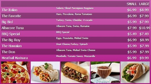 Digital Menu Board - 10 Items with 2 Price Levels in Purple color