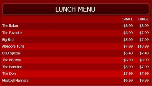 Digital Menu Board - 10 Items with 2 Price Levels in Red color