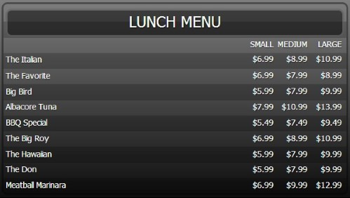 Digital Menu Board - 10 Items with 3 Price Levels in Black color
