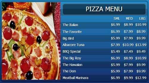 Digital Menu Board - 10 Items with 3 Price Levels in Blue color