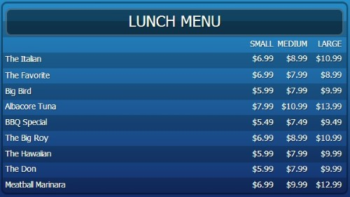 Digital Signage Template for Digital Menu Board - 10 Items with 3 Price Levels