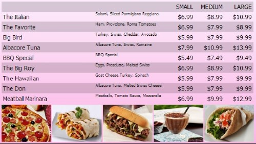 Digital Menu Board - 10 Items with 3 Price Levels in Pink color