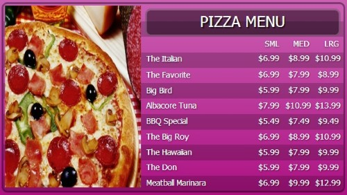 Digital Menu Board - 10 Items with 3 Price Levels in Purple color