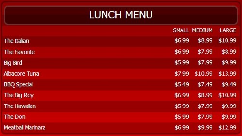 Digital Menu Board - 10 Items with 3 Price Levels in Red color