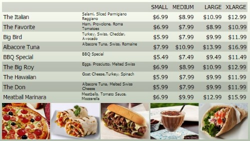 Digital Menu Board - 10 Items with 4 Price Levels in Grey color