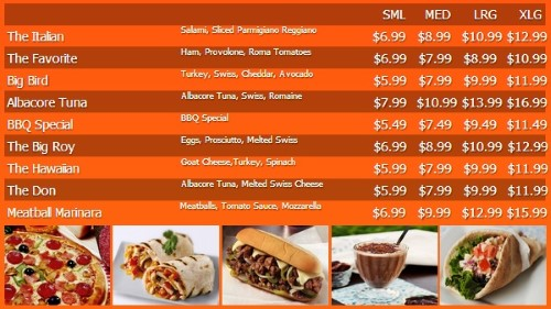 Digital Menu Board - 10 Items with 4 Price Levels in Orange color