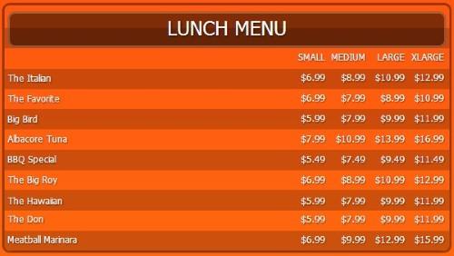 Digital Menu Board - 10 Items with 4 Price Levels in Orange color